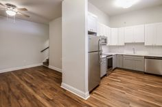 Beautiful wood floors and perfectly matched kitchen cabinets.   Kitchen cabinets by by KBC Direct- Maryland's Kitchen Cabinet Expert.