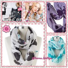 """HP 2X5⭐️JC Black & White Heart Infinity Scarf HP 2X5⭐️NWT Juicy Couture black & white heart infinity scarf with its foiled accents and a paint splatter of pastel yarns give this scarf marvelous style!   Product Features: Foiled accents/paint splatter design with pastel woven yarns, Infinity styling, Polyester, Hand wash.  27""""W x 36""""L Juicy CouturePurpleHeart Scarf Available! (Pictured) ✅Bundle Discounts✅Reasonable Offers✅Offer Button✅❌Trades❌ Juicy Couture Accessories Scarves & Wraps"""