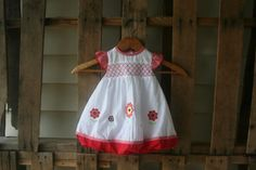 Vintage Red & White Floral and Gingham Smocked Dress by vintapod