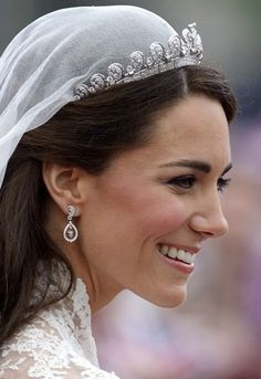 The Halo Scroll Tiara worn by Catherine, Duchess of Cambridge on her wedding day.