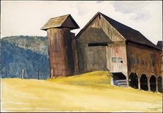 """Barn and Silo, Vermont,"" Edward Hopper, 1927, watercolor, gouache and charcoal on paper, 13 7/8 x 19 7/8"", The Metropolitan Museum of Art."