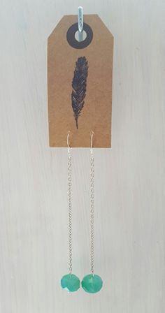 Turquoise lange oorbellen