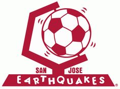 San Jose Earthquakes Primary Logo (1974) - Soccer ball shaking on globe stand with script