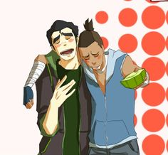 Bolin, Sokka, and Cactus Juice. My two favorite characters hanging out together!!! Epic!!
