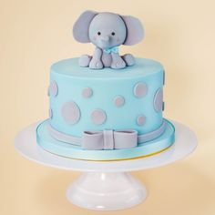 Baby boy children's cake idea, blue elephant, fondant icing. Birthday Cake