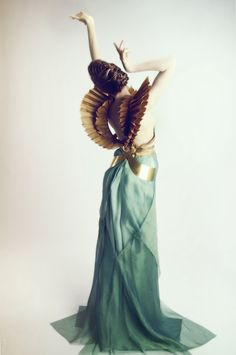 """Dress, """"Chimaera"""" collection preview SS13, designed by Leyre Valiente - photo by Davinci White Theatre Costumes, Greece Dress, Golden Wings, White Angel, High Fashion, Fashion Art, Fashion Design, Fantasy Dress, Fantasy Costumes"""
