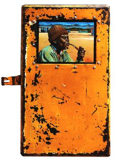 Willie Bester - Man with pipe - Anno - Oil on linen in metal box - 67 x 41 cm South African Artists, Africa Art, Creative Skills, Metal Box, Hobbies And Crafts, Black Art, Collage Art, Mixed Media, Oil