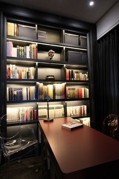 As long as ceiling height allows, you can create grand full height bookshelves in your study room resembling those in college libraries_ by PLAN
