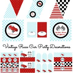 Vintage Race Car Decorations For Birthday Party Or Baby Shower Boys Diy Printable Decor By