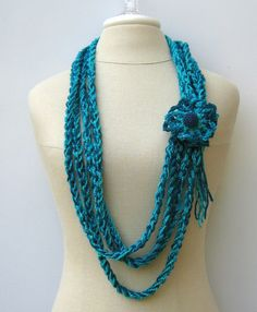 Teal Cowl Gypsy Braids Infinity Scarf Fiber by PurpleSageDesignz, $ 15.00