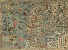 Carta marina by Olaus Magnus created in the 16th century, is the earliest map of the Nordic countries.  http://en.wikipedia.org/wiki/Carta_marina