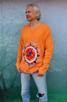 L-XXL man and woman ethno art appliqued denim ornament recycled shirt top hippie boho style