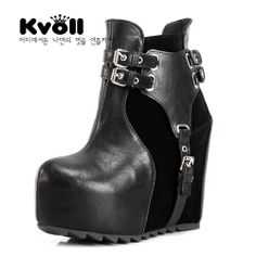 designer winter gefutterte plateau stiefel stiefelette ankle boots pumps high heels keilabsatz. Black Bedroom Furniture Sets. Home Design Ideas