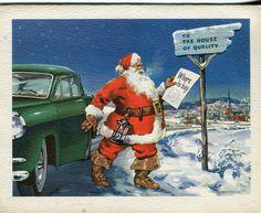 Merry Christmas Sprint Car Santa Christmas Cards