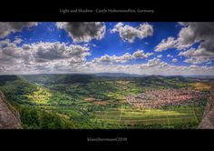 Light and Shadow – Castle Hohenneuffen, Germany (HDR Panorama)    This is a panorama shot from Hohenneuffen Castle, one of the many ancient castles on the Swabian Alb (Schwäbische Alb), Baden-Württemberg, Germany. We went there last weekend, not really knowing if the weather would hold up. As it turned out, the clouds were just perfect which opened a majestic view over the valley with light and shadows painting structures on the ground. So I got out my minimalist panorama gear (a monopod, a…