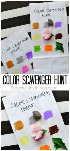 This simple color scavenger hunt for kids is unbelievably easy to throw together last minute and the kids have fun with it every single year. Great outdoor activity for kids, summer activity for kids, Preschool Color Activities, Babysitting Activities, Camping Activities For Kids, Camping With Kids, Camping Games, Camping Ideas, Children Activities, Party Activities, Indoor Activities