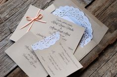 Ribbon and Lace Wedding Invitations - Custom Handmade - Vintage Shabby Chic Rustic - Doily and Burlap - Baby & Bridal Shower - Fall - Coral on Etsy, $2.00