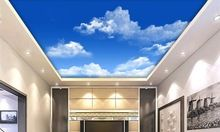 High-definition Big Picture sky Ceiling Wallpaper White Clouds fresh Wallpaper For Walls 3 d Living Room bedroom Ceiling(China)