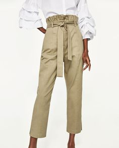 TROUSERS WITH FRILLED WAISTBAND-Smart-TROUSERS-WOMAN | ZARA United States