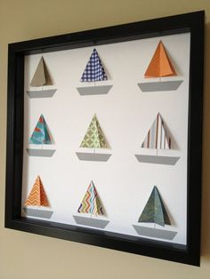 Paper Boats in box frame - would be great use of old Birthday cards. Crafts To Sell, Diy And Crafts, Paper Crafts, Art Projects, Projects To Try, 3d Paper Art, Paper Anniversary, Beach Crafts, Boat Art
