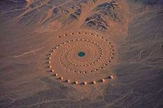 "Created by Greek artist Danae Stratou and the DAST art team in the mid-1990s, this earthwork art is called ""Desert Breath."" It covers 100,000 square meters in the Egyptian desert near the Red Sea, and took several years to create. At its center was a fairly deep pool of water, and the whole project was designed to slowly erode over time."