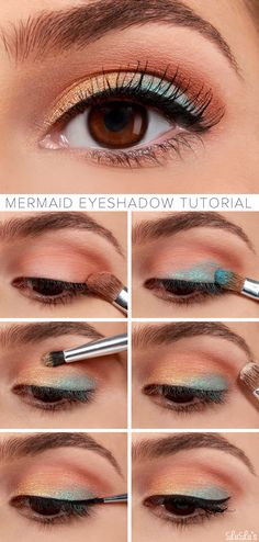 Mermaid Eyeshadow Tutorial.  Great way to use coral and turquoise eyeshadow.