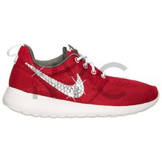 Blinged Nike Girls Womens Roshe One Shoes Red Customized With... (505 SAR) ❤ liked on Polyvore featuring shoes, silver, sneakers & athletic shoes, tie sneakers, women's shoes, red rhinestone shoes, tie shoes, rhinestone shoes, swarovski crystal shoes and red shoes