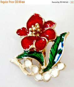 Vintage red gold and green enamel flower by PlasticPinkFlamingos