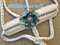 White Cowhide Mule Tape Halter with Leather Flowers by Running Roan Tack Horse Halters, Leather Flowers, Horse Stuff, My Ride, Paracord, Rodeo, Tack, Beading, Addiction