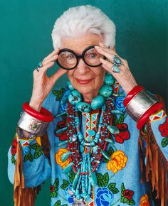 """Iris Apfel, the nonagenarian subject of Albert Maysles's documentary """"Iris"""" is inspiring on so many levels. Talk about STYLE!! and personality!"""
