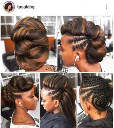 Protective Hairstyles For Natural Hair, Braided Ponytail Hairstyles, Natural Hair Updo, African Braids Hairstyles, Girl Hairstyles, Natural Hair Styles, Hairstyles Videos, Loose French Braids, Ombré Hair