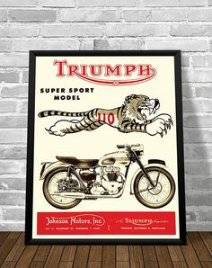 Affiche TRIUMPH MOTORCYCLES TIGER 1954 - Garage Atelier Vintage - Limited Edition