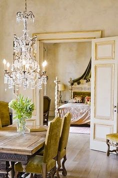 Dining room table and chairs.  A Paris Apartment and a Paris Graphic - The Cottage Market