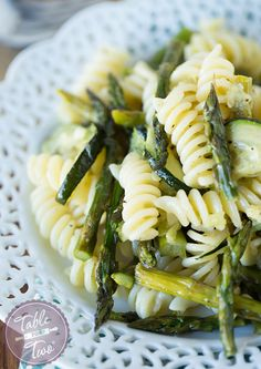 Grilled Asparagus and Zucchini Pasta - Table for Two