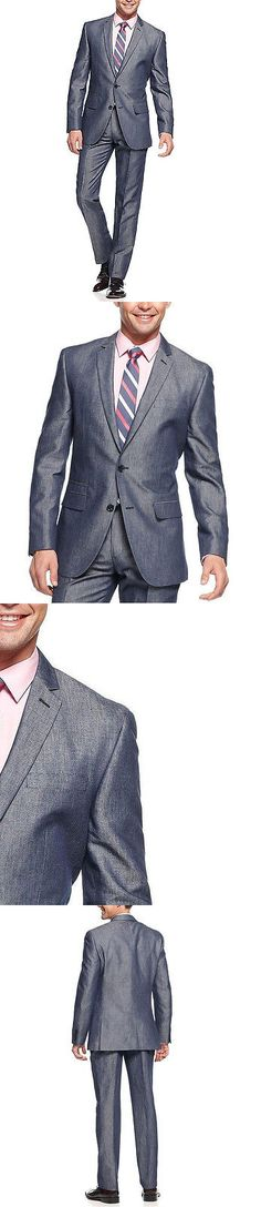 Suits 3001: Bar Iii Slim Fit Navy 36R Two Button Flat Front Cottonandlinen Blend Men S Suit -> BUY IT NOW ONLY: $74.5 on eBay!