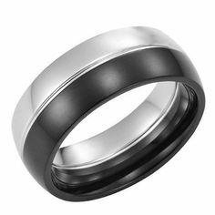 R&B Joyas - Anillo hombre brillante, acero inoxidable 2 colores, anillo, talla 17, color plateado negro: Amazon.es: Joyería