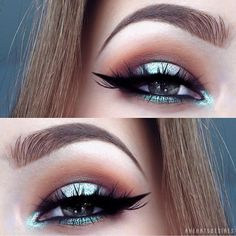 """Mermaid Halo Eyes by this new beauty ✨@aheartsdesires✨! Gorgeous blend of colors & criss-crossed lashes! Love this look! Don't forget to enter our GIVEAWAY to win a free pair of """"DAMN GINA!"""" mink lashes! SHOP NOW: WWW.LUXY-LASH.COM"""