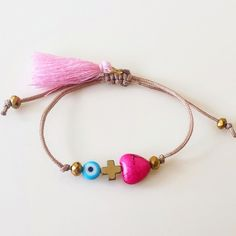 Evil Eye Bracelet, Heart bracelet, Cross bracelet, Ethnic Girls Bracelet, Party Gifts, Worldwide Shipping by GlowHandmade on Etsy
