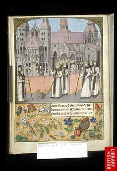 Bernard taking possession of the Abbey of Clairvaux. An all time favourite of mine, 'case I can't figure out that little horned critter at his feet.   Ms. Yates Thompson 32 f.9v