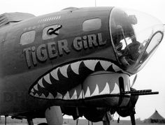 "The nose art on the Boeing B-17F-75-DL Flying Fortress ""Tiger Girl"" of the 8th Air Force, 388th Bomb Group, 560th Bomb Squadron"