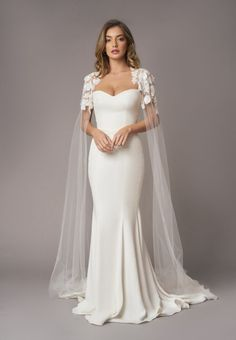The new Stephanie Allin 2020 Eden collection. Full collection exclusively available to try in store on Saturday October - contact us for your appointment ✨ Classic Wedding Dress, Dream Wedding Dresses, Bridal Dresses, Bridesmaid Dresses, Prom Dresses, Wedding Dresses With Cape, Wedding Cape Veil, Civil Wedding Dresses, Couture Wedding Gowns