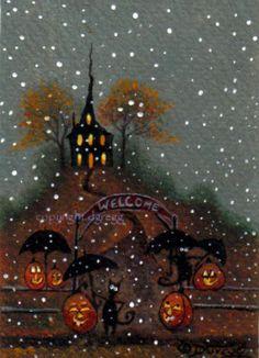 Folk Art Paintings by Deborah Gregg Folk Art & Halloween--two of my favorite things.