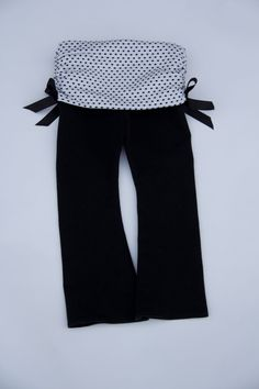 Baby Girl Yoga Pants with Polka Dot Ruched Band and Satin Accent Bows. $28.00, via Etsy.