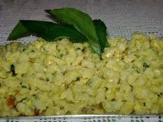 Medvehagymás-tojásos galuska Falafel, Risotto, Grains, Vegetables, Ethnic Recipes, Food, Essen, Vegetable Recipes, Falafels
