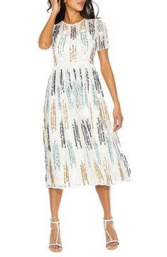 Crichet Sequin Midi Dress,                         Main,                         color, WHITE Sequin Midi Dress, Posh Party, Dress Cuts, Beaded Lace, Nordstrom Dresses, Style Guides, Party Dress, Short Sleeve Dresses, Dress Party
