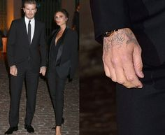 David Beckham has the name of his wife Victoria inked onto his right hand and he debuted his latest tattoo at the London Fashion Week.