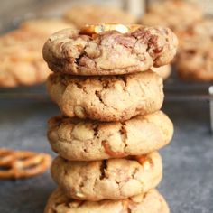 Thick, chewy cookies, crusty on the outside, swirled with Nutella and filled with crunchy pretzels!