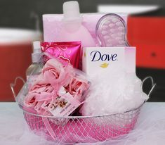 This calming and fragrant gift will give her a chance to visit the scents of a flourishing garden while she relaxes. She can relax herself in the bath with cherry blossom bath soak, a bath pillow, and a bar of pink Dove. Some rose room spray, pomigranite lotion and a massager to help keep her feeling like a lady