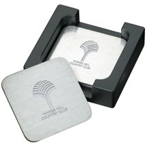 Sleek modern stainless steel coasters. They can be laser engraved with your custom imprint. Great holiday or corporate gift idea.