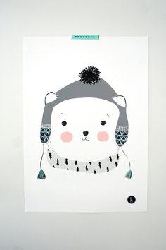 Affiche-Polar Teddy par MYMUSECOMESANDGOES sur Etsy
